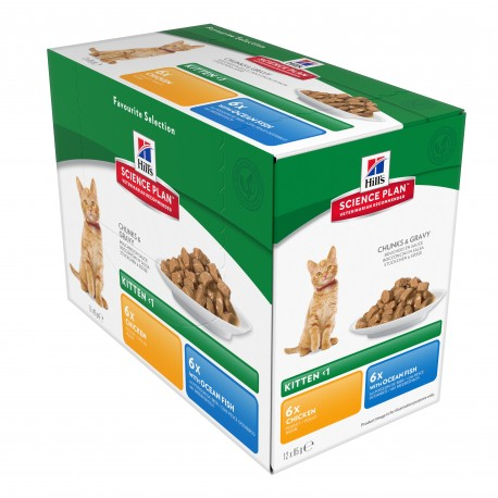 Science Plan Kitten Tender Chunks in Gravy pack mixte